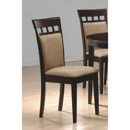 This Set of 2- Contemporary Dining Chairs in Cappuccino Finish would be a great addition to your home. It has clean Lines and contemporary solid hardwood finish. Material: Solid Hardwood, Wood Veneer & Micro Fiber; Set of 2 Dining Chairs; Clean Lines and Contemporary; The seat features strong durable micro fiber fabric in a deep mocha color. Matching dining table is sold separately. Mocha Upholstery; Contemporary Style.