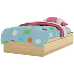 This Twin Size Mates Platform Bed Frame in Natural Maple Finish Kids Bedroom, Bed, Twin Mates Bed (39''), Contemporary Style Create a calming oasis where your child can slumber peacefully each night with the twin mates bed (39''). This stylish bed combines smart storage, a cozy design and functionality in 1 essential piece, without the need for a box spring. The 3 under-bed storage drawers provide plenty of space for clothes, blankets and toys and feature Smart Glides for smooth opening and closing to encourage a child to stay organized. The bed's unfussy, modern lines continue on seamlessly without drawer handles and create a streamlined style that coordinates well with other furniture pieces. The Natural Maple finish offers a refreshing lift to any room design, making this bed a peaceful haven your child will love.