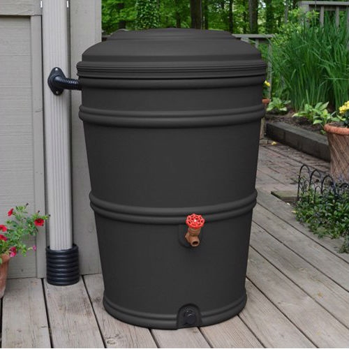 45-Gallon Rain Barrel with Spigot and Rain Gutter Water Diverter in Charcoal, GCEG585161 :  Don't let that rainwater go to waste! This 45-Gallon Rain Barrel with Spigot and Rain Gutter Water Diverter in Charcoal will catch rainwater from your downspout and save it for a drier day. The included, patented Flexi-Fit connector attaches directly to your downspout -- eliminating the need to cut directly into your gutter -- and diverts water into the barrel. After the rain, use your stored rainwater for the garden or the lawn. Two spigots make it easy to fill a watering can or connect a soaker hose. The barrel's locking lid prevents animal and child entry, while the fully-enclosed system prevents mosquito infestation. Included flexi-fit diverter connects to gutter; Links to other barrels for more capacity; Material Recycled Plastic Resin .