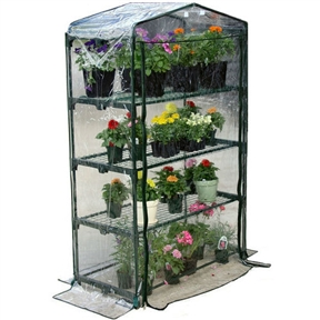 4-Tier Growing Rack Planter Stand Greenhouse with Thermal Cover, JAGREEN88311:  This 4-Tier Growing Rack Planter Stand Greenhouse with Thermal Cover is an ideal greenhouse for the urban gardener, beginner, or hobbyist. It's a convenient size for the deck or patio but has ample space to keep plants. The thermal cover creates the optimal growing conditions for plants offering year-round protection with annuals, perennials, vegetables, and delicate plants. Thermal cover included; Constructed with interlocking all steel frame for strength; All steel mesh shelves provide the ideal drainage and circulation; Removable, clear, waterproof, UV protected PVC thermal cover; Dual zippers for easy access, ventilation, and moisture control; Early Start collection; 4 Shelves.  Frame Material: Steel; Panel Material: Plastic; Foundation Included: No.