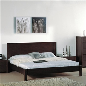 This King size Contemporary Platform Bed with Headboard in Wenge Finish would be a great addition to your home. It has a headboard with a wenge finish and a solid wood and veneer construction. Represents a unique combination of design and workmanship; Designed for easy installation; Solid wood and veneer construction on medium density fiberboard. Please note: Optional Serta Mattress and box spring ships separately from bedroom furniture, and may arrive for delivery on an earlier or later date than bedroom furniture. Mattress and box spring NOT included; Product Warranty: 1 year; Powder Coated Finish: Platform; Box Spring Required: Yes.