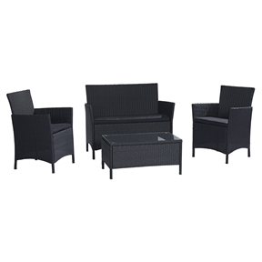 "4-Piece Patio Furniture Set in Outdoor Resin Wicker with Black Cushions, PFS5189153 :  Turn your outdoor space into a comfortable seating and lounge area with this 4-Piece Patio Furniture Set in Outdoor Resin Wicker with Black Cushions. The chairs and bench both feature a removable soft seat cushion for added comfort and simply cleaning. The matching tempered glass topped coffee table (30.7""Lx18.1W""Wx15""H) is built with same rust resistant powder coated steel frame for extra support and durability. Each chair measures 22.8""Wx23.6""Dx32.7""H, loveseat bench measures 42.5""Wx24.4""Dx32.7""H. Contemporary lines and comfortable tailored removable cushions; Low maintenance resin wicker and powder coated steel frame is weather resistant; Steel frame for extra support and durability."