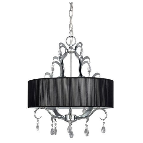 This 4-Light Crystal Chandelier with Black Drum Shade is a UL listed lighting and is made of steel. Endearing chandelier with chrome, crystal embellished accent and black string shade will add elegance to your decor. Finish Options: Chrome, Chrome or Aluminum Lighting, Steel Lighting; Number Of Lights: 3-5 Lights; Shade Color Options: Black Shades, Blacks; Shade Shape: Drum; Special Features: UL Listed Lighting; Style Options: Transitional Lighting; Type Options: Drum Pendant, Mini Chandeliers or Chandelettes; Accommodates: 4 x 60W C type incandescent bulbs (not included).