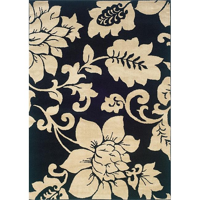 Black / Ivory Floral Design Indoor Area Rug (5' x 7'3), IBIFAR573 : A striking black and ivory floral pattern makes a bold statement on this Black / Ivory Floral Design Indoor Area Rug (5' x 7'3) of a durable stain resistant construction. Highlight your decor with this allergen-free rug. All rug sizes are approximate. Due to the difference of monitor colors, some rug colors may vary slightly. We try to represent all rug colors accurately. Please refer to the text above for a description of the colors shown in the photo. Tip: We recommend the use of a non-skid pad to keep the rug in place on smooth surfaces.