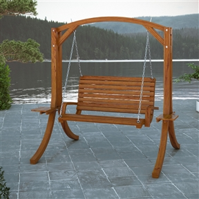 Cinnamon Brown Heavy Duty Rustic Solid Wood Porch Swing, DWCPS45823 :  Sharing special moments in your own backyard is easy with this Cinnamon Brown Heavy Duty Rustic Solid Wood Porch Swing. This heavy duty rustic wood swing will create an outdoorsy look to any patio space. The durable 3-ply solid wooden frame is stained Cinnamon Brown and complimented by a matching wooden seat hung from rugged chain. Gently sway your afternoon away! High quality chain; Durable and easy to care; Style: Rustic; Porch Swing Material: Wood; Chain Included: Yes; Warranty: 1 Year.