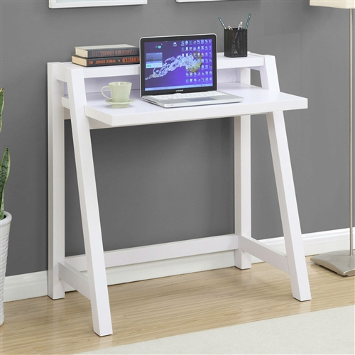"This White Modern Minimalist Compact Laptop Computer Desk comports itself with suave contemporary styling and is engineered for stability, making it a great choice for anyone, no matter how boisterous. This design eschews drawers, which have a tendency to become ""junk bunkers."" Instead, the clean, sleek design encourages you to keep your desktop neat and tidy. This desk is perfect as a laptop station. Angled front legs create a visual impression that may remind you of retro graphic designer's desks from the pen-and-ink era."