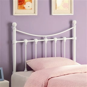 This Twin size White Metal Headboard with Bow Top and Clean Lines would be a great addition to your home. It has clean and strong line for sturdiness.