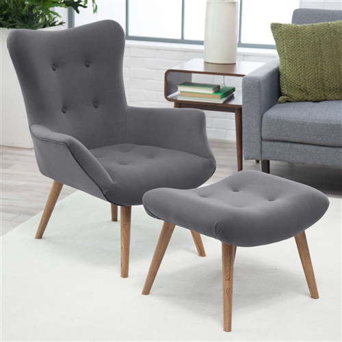 A mid-century modern marvel, this Modern Classic Mid-Century Style Gray Accent Chair and Ottoman is graced with timeless gray upholstery and contrasting piping. This chair and ottoman duo is a delightful addition to your living room or den. For added detail it features buttons and a curved footrest on the ottoman. 100% polyester upholstery; Color Gray; Feature Tufted, Ottoman Included; Material Fabric Pattern Solid; Style Modern; Weight Capacity 440 lbs. Width (in.) 33.