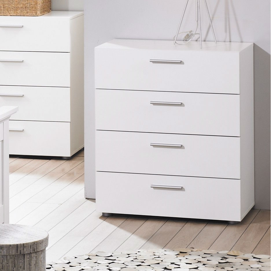 This Contemporary Style White 4-Drawer Bedroom Bureau Storage Chest would be a great addition to your home. It has a contemporary style and is made of metal hardware. Levelers included; Frame Material: Manufactured wood; Frame Material Details: Particle Board finished in Melamine; Product Type: Standard chest (vertical).