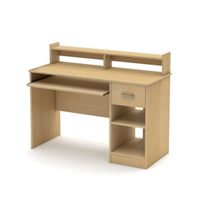 This Home Office Computer Desk in Natural Maple Wood Finish is the perfect answer to organizing clutter in your child's room. It features a compact design yet includes space for everything needed for schoolwork and projects. A low hutch offers shelving for books or keepsakes and the desktop, plenty of room to spread out homework or a house laptop. Under it, you will find a keyboard tray, one practical drawer with a silver finish metal handles and a storage compartment divided by an adjustable shelf. For complete interior dimensions see spec sheet. Also available in Pure Black, Pure White, Royal Cherry or Chocolate finish. The back is not laminated and the accessories are not included. New and improved drawer bottoms made with wood fibers. The low hutch offers shelving for books or keepsakes; Manufactured from certified Environmentally Preferred laminated particle panels.