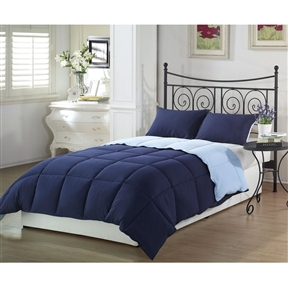 This Queen 3-Piece Reversible Comforter Set in Navy and Light Blue is the perfect solution for your search for bedding that's bright, colorful and cheerful looking. If you're looking for bedding that will turn heads, look no more because you've found it in this 3-piece comforter set. The color and pattern is something you have to see to believe…and once you see it, you'll love it.