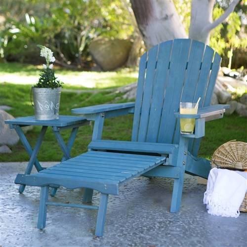 Blue-Stain Wood Adirondack Chair with Pull Out Ottoman and Built in Cup Holder, BCD1489411 :  The classic lounge chair gets a modern update with this Blue-Stain Wood Adirondack Chair with Pull Out Ottoman and Built in Cup Holder. This isn't your typical Adirondack chair. Its ergonomic structure features the traditionally rustic aesthetic complete with broad armrests and high back but it also includes an extendable seat. The pull-out ottoman makes this chair even more luxurious by giving you a place to put up your feet and there's even a cup holder so you can always have a beverage handy while enjoying another beautiful day in the sun. Made of Fir wood.