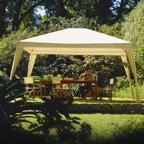 12Ft x 10Ft Folding Gazebo with Carry Bag in Camel, C8X12G26912 :  This 12Ft x 10Ft Folding Gazebo with Carry Bag in Camel combines knitted fabric with a sturdy aluminum frame to create a lightweight gazebo that is easy to set up and take down. The knitted fabric is made using UV stabilized high density polyethylene materials. Special lock knit construction blocks up to 90% of harmful UV sun rays while generating cooling breezes underneath the shade canopy. The aluminum frame is powder coated to complement the shade canopy. Perfect for picnics, outdoor parties or any other occasion. Leg hooks keep the canopy taut and in place; Easy to clean fabric with soap and water; Rust Resistant: Yes; Year-Round Use: Yes; Shape: Rectangular;  Installation: Freestanding; Installation Hardware Included: Yes; Number of Openings: 4; Wind Rating: 30 Miles Per Hour (MPH); Roof Top Weight Capacity: 5 Pounds; Roof Hanging Weight Capacity: 10 Grams per Square Meter (GSM) [Fabric Weight]; Country of Manufacture: China; Assembly Required: Yes; Product Warranty: 10 years.