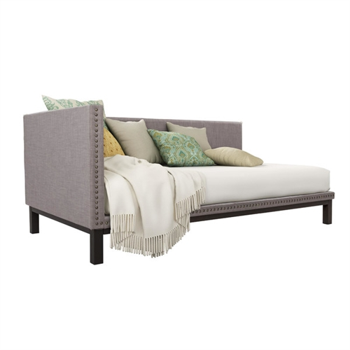 Simple and sophisticated, this Grey Linen Fabric Upholstered Mid-Century Modern Daybed brings the late 18th century classic style to life! with its streamlined silhouette, soft linen fabric and nail head trim, the daybed's refined profile suits any décor style. Built with a sturdy metal frame, this versatile twin-size daybed offers extra seating and sleeps one comfortably. A perfect fit for any bedroom, living room or guest room, the Mid-Century upholstered daybed is grand in both scale and beauty.