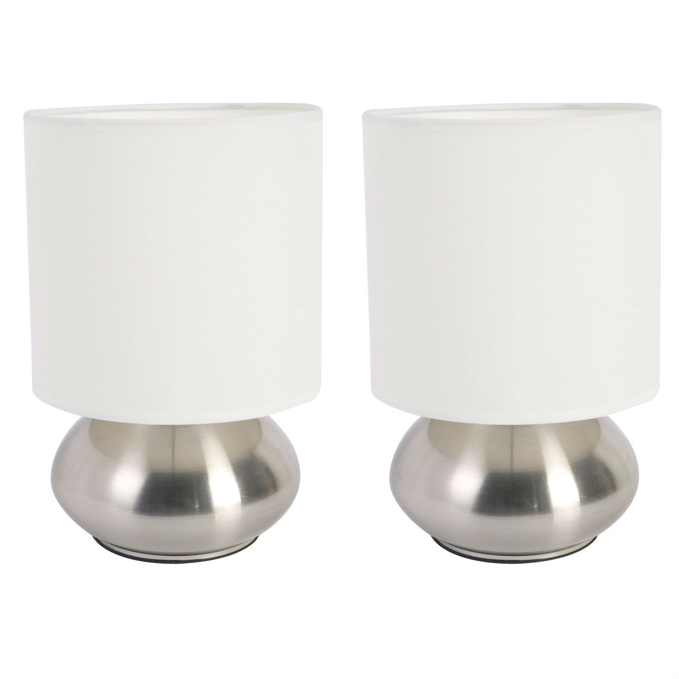 Brighten up your living area with this Set of 2 Bedroom Table Lamp Night Light with Touch On Off Sensor. Enjoy lighting made easy with the On/Off touch control feature. The trendy design is complimented by a satin shade and metal body.