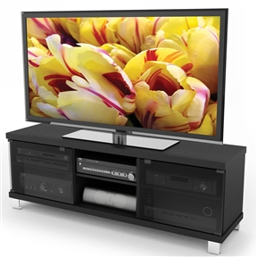 Introducing the highly sought after hollow core Modern Black TV Stand with Glass Doors - Fits up to 68-inch TV. The ingenious honeycomb wood core allows for a thicker prominent profile while remaining light and easy to handle. This bench is featured in our sleek signature Midnight Black finish and accented with easy touch tempered glass doors. The HC-5590 can accommodate most TVs up to 68-inch and an array of components. Bring home this contemporary furniture by Sonax, proudly built in North America.