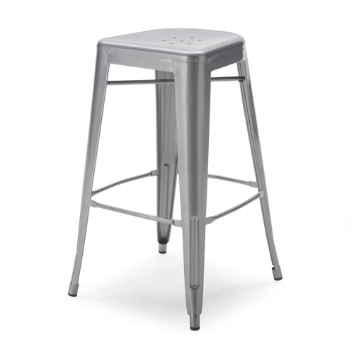 Functional style with a touch of industrial chic make this Set of 2 - Modern 30-inch Steel Bar Stools in Gun Metal Finish a welcome addition to any counter or bar. These stools are made with a pressed and welded steel construction and given a brilliant red powder-coat finish for a lasting beauty. Rubber feet offer comfort and floor protection while seat holes keep things aerated. Strong yet lightweight, each stool has leg braces for easy positioning. Choose from two sizes to match your setting. Bright red powder-coat finish; Foot rest; Rubber non-marking foot glides; Stackable design; 300-lb. weight capacity.