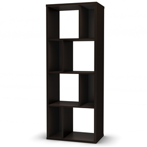 This Modern Narrow Bookcase with 4 Shelves in Chocolate Finish is characterized by its versatility. Whether for a need of privacy or extra storage, it will certainly add a touch of originality to any room. Combine more than one and place them side by side for additional storage possibilities. Its modern design will certainly attract attention in your contemporary decor! Safety secure is provided to attach the bookshelf against the wall; Back is laminated but it is not recommended to use it as a free standing unit; Endless possibilities to better utilize your space; Manufactured from certified environmentally preferred laminated particle panels; Accessories not included; Finish: Chocolate; Reveal collection. Product Warranty: 5 Year Limited; Shelf Weight Capacity: 25lbs.