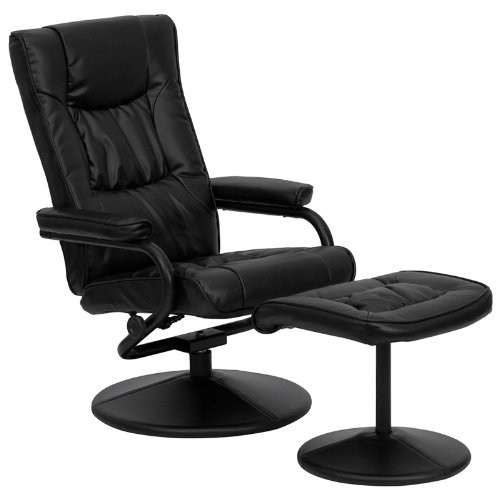 Recline in your favorite position with this Black Faux Leather Recliner Chair with Swivel Seat and Ottoman. This set features thickly padded arms and leather wrapped bases. This set is not only perfect in the home, but makes for a great addition in the office when you need to relax for a bit. The durable leather upholstery allows for easy cleaning and regular care.