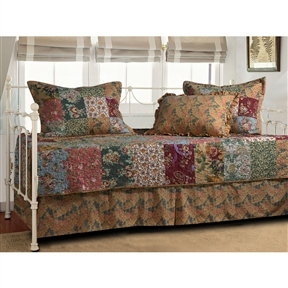 Charming floral prints combined with paisleys create this Floral 5-Piece Daybed Ensemble Bedding Set. Antique Chic features 100-percent cotton and is finely quilted with a vintage rose bound edge and back. Reversible. Each set includes one quilt, one bed skirt and three pillow shams.