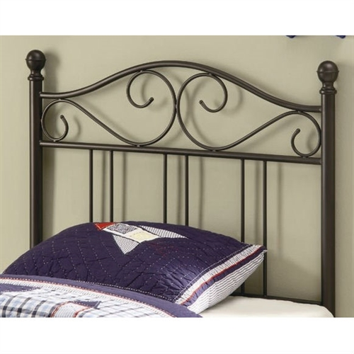 This Twin size Dark Brown Metal Headboard with Scrolling Accents would be a great addition to your home. Create a warm and inviting style in the youth bedroom in your home with this pretty metal headboard, swirling accents, a curved crown, and sphere finials. Spice up the twin bed in your home with this transitional style metal headboard.