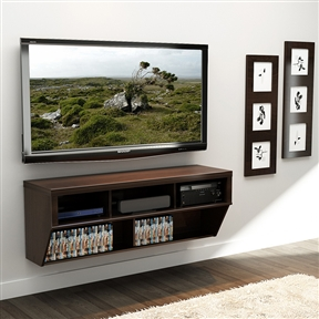 This Espresso 58-inch Wide Wall Mounted AV Console TV Stand is perfect for any contemporary living space. Cables are neatly concealed in hidden wire pathways to provide a professional, designer look. Large storage compartments on top provide ample room to store your AV equipment; Assembly required.
