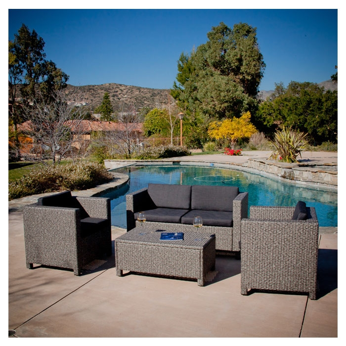 4-Piece Outdoor Wicker Resin Patio Furniture Seating Set with Cushions, HLTO61501 :  With this 4-Piece Outdoor Wicker Resin Patio Furniture Seating Set with Cushions you can entertain your guests outdoors while giving them plenty of room and even a place to set their drink or plate. With the included plush cushions, you can chat for hours in the comforts of the outdoors. Material: PE wicker / iron; Useful together or spread out separately; Removable cushions for easy cleaning; Sturdy construction; Color: Black; Woven: Yes; Frame Finish: Green; Cushions Included: Yes; Seating Design: Deep seating; Style: Contemporary; Country of Manufacture: China.