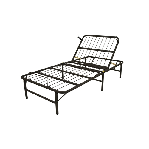 This Twin XL Manually Adjustable Bed Frame - Head Adjust Only brings a full range of flexibility to the original foldable foundation, designed to eliminate the traditional box-spring. We've carefully engineered the frame with 80° of articulation at the head and 30° at the foot for adjustable support. All of our foundations have a simple assembly process that don't require additional tools as the frame unfolds to its full size. To support the portability of the design, we use heavy duty steel at a thicker gauge than standard metal frames to ensure a solid foundation for all mattress types, and especially well suited for latex and memory foam. Other details like recessed wire supports and capped feet protect your floors and bedding, while a hypoallergenic powder-coated finish provides resistance to bedbugs and dust mites.
