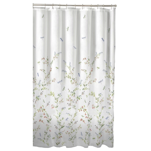 "Floral Dragonfly Polyester Machine Washable Shower Curtain, DFG58198151 : This Floral Dragonfly Polyester Machine Washable Shower Curtain will add beauty to any bathroom décor! Made from 100% polyester, it is machine washable for easy care. We recommend using a vinyl liner behind this curtain inside the tub to protect from water. Hooks not included. DIMENSIONS: 70 "" H x 72 "" W; NOT INCLUDED: Rod, Hooks; MACHINE WASHABLE."