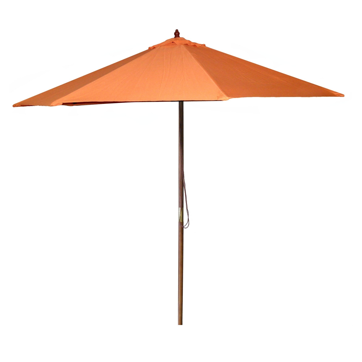 9-Ft Patio Pulley Umbrella with Wood Pole and Orange Canopy, OMB103895 :  This 9-Ft Patio Pulley Umbrella with Wood Pole and Orange Canopy would be a great addition to your home. We recommend to take inside during extreme weather to avoid damage. To clean use a mild soap and water solution. Not intended for Commercial Use, only warrantied for 500 hours of direct sunlight for commercial use. Maintenance free.