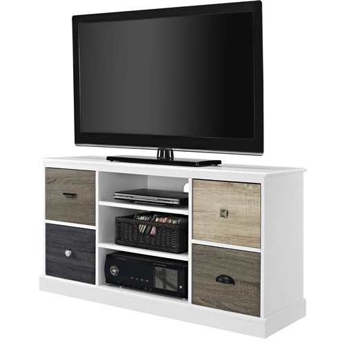 "This White Wood Finish TV Stand with Multi Wood Grain Finish Drawer Door Fronts features 4 cabinet doors, each in a different color. The doors can be arranged in any order, and the knobs are interchangeable, allowing you to design it to your liking. There are actually holes to pull cords through on both the top and middle shelves. There are four openings where just the four-door fronts are placed to cover the opening, the TV stand does not have any drawers that pull out. Finish: White; 1 Year warranty; Include: Wrench and allen key; TV Size Accommodated: 48""; Frame Material: Wood; Media Storage: Yes; Assembly Required: Yes."