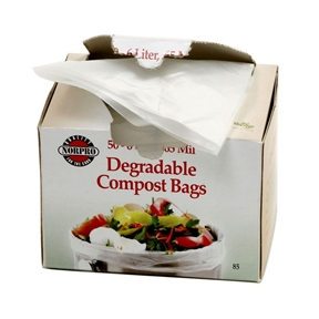 Bio-Degradable Compost Bags, 50 Pieces, NDCB501026 :  This Bio-Degradable Compost Bags, 50 Pieces is 100-Percent degradable and compostable. Use for food scraps, peelings, egg shells, coffee grounds and other biodegradable waste for composting. Fits most compost keepers and pails. Endorsed by ISAB and OPI. Boxed with dispenser lid. Perfecting for taking with you when you walk your pets too. Each bag is 6 liter, .65mm thick. 14-Inch x 16-Inch/35-1/2-cm x 40-1/2-cm.  The bag can also be used to hold your pet's waste.