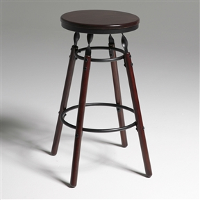 Stunning details make this Dark Cherry Finish Wood Barstool with 30-inch High Seat a can't miss seating option. Rich dark cherry finished wood legs are topped with twisted metal accents of charcoal metal that hold the round seat. The attractive finish means this bar stool will stand out, making your dining area the centerpiece of your home. Seat Color: Dark Cherry; Distressed: No; Frame Material: Wood; Metal; Seat Material: Wood; Leg/Base Type: 4 legs; Footrest Included: Yes.