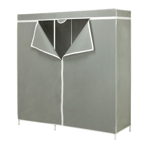 "This 60-inch Grey Portable Closet Clothes Organizer Wardrobe provides 60-Inch of total hanging space. steel frame wardrobe, no tool assembly, 60"" of hanging space. Durable steel frame construction. Easy to assemble with no power tools necessary, customize unit to fit your needs."