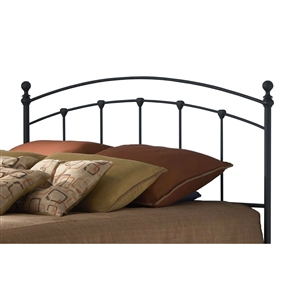 This Twin size Metal Headboard in Matte Black Finish is its defining characteristic to be sure. What other headboard shows a rich distillation of the option of bed as focal point or bed as background décor. The powder coat application marries texture to the surface in a way that both mutes and plays with light. Notice how he soft sheen of the finish takes a heavy steel frame and portrays it as light in weight. The castings locked in place on the headboard are intentionally finished in the same black power coat to show only their silhouette and accentuate their simple nature.