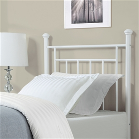 With elegant, simple lines, this Twin size White Metal Headboard with Simple Lines and Decorative Finals in white will be a welcome addition to any bedroom. Featuring decorative finials, the contemporary styling is appropriate for both children and adults. Combine the Metal Headboard with a Twin bed frame and Twin-sized mattress to complete the bed.