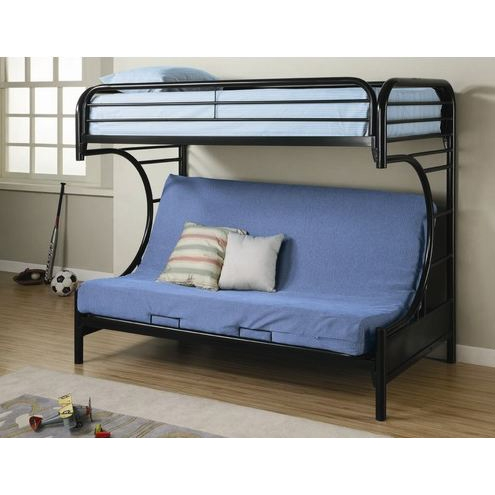 Black Metal Twin over Full Futon Bunk Bed with Built-in Ladder, FCTOFB387 :  This Black Metal Twin over Full Futon Bunk Bed with Built-in Ladder would be a great addition to your home. Also, it is made of lead free, epoxy powder coat finish that resists scratching or chipping.