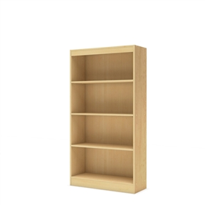 This 4-Shelf Bookcase in Natural Maple Finish is ideal for your binders, books or decorative items. It features 4 open, practical and accessible storage spaces, separated by 1 fixed shelf and 2 adjustable shelves. Its refined lines harmonize seamlessly with virtually any décor. Both functional and attractive with its sleek contemporary styling, this bookcase is sure to enhance the look of any room in your home. It is also available in Pure White, Chocolate, Pure Black or Royal Cherry finish.