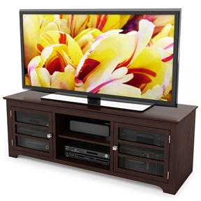 Revamp your living space with this Dark Espresso TV Stand with Glass Doors - Fits up to 68-inch TV in our dark shade of Espresso Maple stained wood, this transitional bench is a natural addition to your living space Glass doors framed with horizontal wood panels create a tasteful and concealed space to house all of your A/V components Complete with our convenient cable management system to maintain a sleek and polished look.