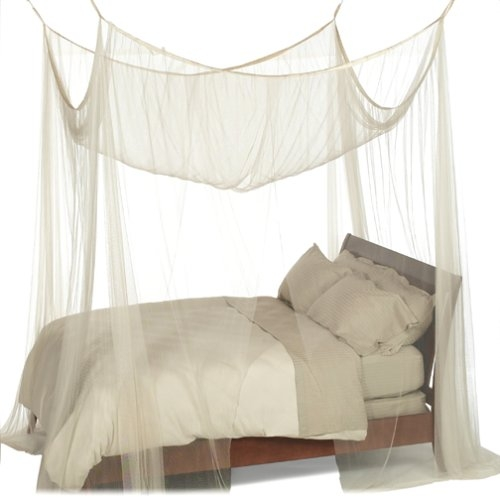 4-Post Bed Canopy in Ecru Color Mesh Fabric - Fits all Bed Sizes: Product Code: H4PC36 : This 4-Post Bed Canopy in Ecru Color Mesh Fabric - Fits all Bed Sizes adds a romantic touch to any bedroom without seeming overly feminine. Four sheer panels of 100-percent polyester mesh suspend from the ceiling or hang from a four-poster bed, cascading a filmy sheath of fabric around the bed's corners. To appease the man of the house, panels are a straight, masculine cut without any lacy or delicate flourishes. The canopy fits over beds of any size, from twin to king, and the bottom either drapes along the floor or ties up at each corner to shorten the length. In addition to its decorative appeal, this canopy also serves as a functional mosquito net, providing a peaceful night's sleep in hot and humid climates. Dry cleaning is recommended as the most thorough and easy cleaning method for the canopy; however, it is possible to hand wash the canopy in cold water and dry it flat. Fits all bed sizes.