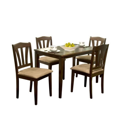 Enhance your dining or kitchen area with this 5-Piece Espresso Wood Dining Set. Clean, simple lines with an espresso finish will enable you to incorporate this set into a formal or casual setting. Table measures 45 inches long by 28 inches wide by 29 inches high with rubber wood construction. Chairs measure 18 inches wide by 17 inches deep by 36 inches high with rubber wood construction and seats upholstered in a warm, brown microsuede. This 5 piece sets ships in one carton and requires some assembly. Imported; Seat measures16 inches wide by 17.5 inches deep.