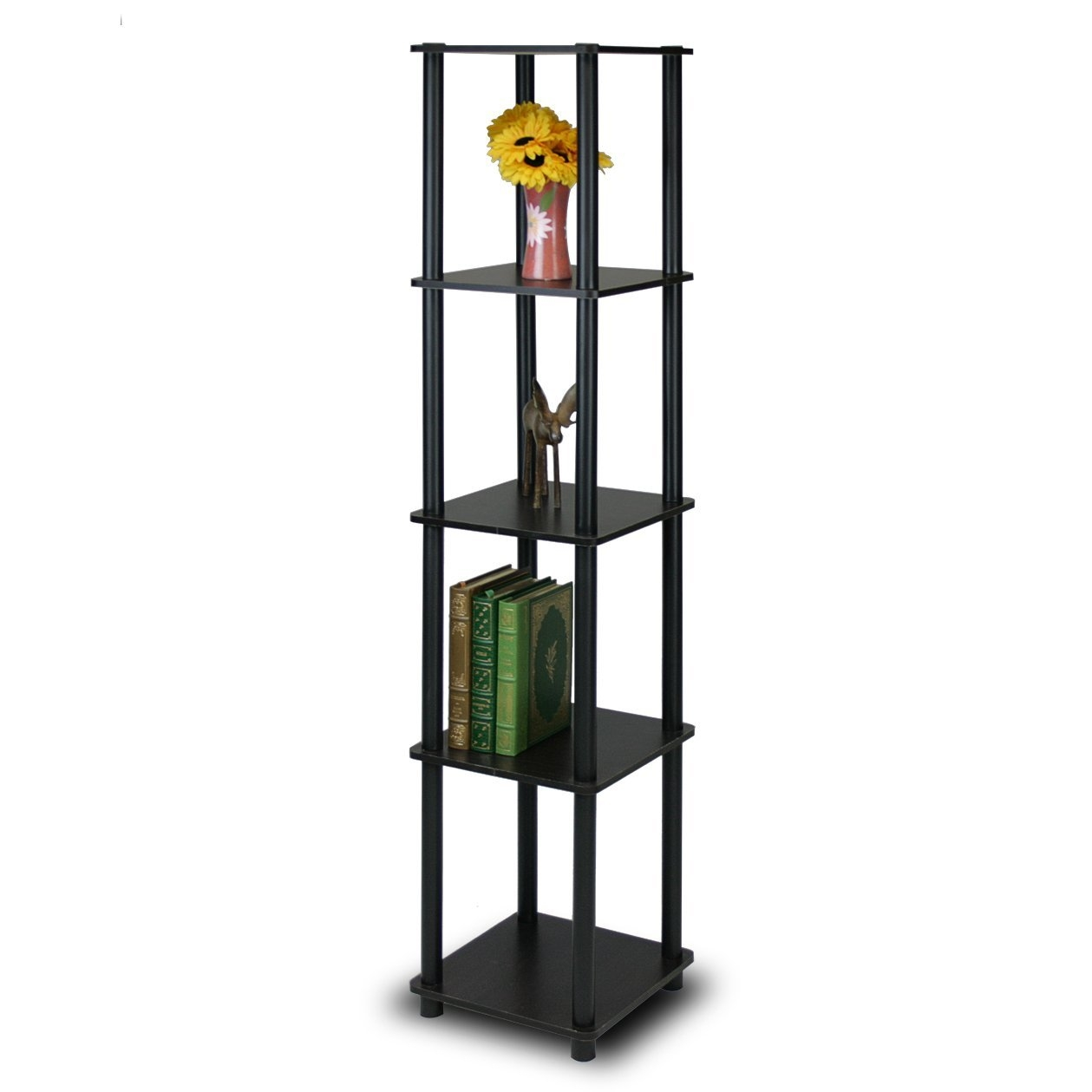 This 5-Tier Square Corner Display Shelf Bookcase in Espresso/Black is designed to meet the demand of low cost but durable and efficient furniture. It is proven to be the most popular furniture due to its functionality, price, and the no hassle assembly. The materials comply with e1 grade particle board for furniture. There is no foul smell of chemicals, durable and it is the most stable particleboard used to make furniture. Care instructions: wipe clean with clean damped cloth. Avoid using harsh chemicals. We are pleased to send you the replacement part free of charge. Pictures are for illustration purpose. All decor items are not included in this offer. Pictures are for illustration purpose. All decor items are not included in this offer.