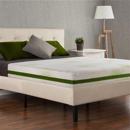 This Queen size 8-inch Thick Bio-Foam Memory Foam Mattress offers customized support and comfort. The top layer of premium quality memory foam provides conforming comfort and the base layer of high-density support foam provides the perfect amount of support to ensure that you get a refreshing night's sleep. Cover color and fabric may vary. The latest evolution of memory foam, Bio Foam replaces some of the traditional petroleum with natural plant oil, includes natural green tea extract and all-natural active charcoal to help absorb moisture, eliminate odors and keep your mattress fresh. Another comfort innovation from Zinus. Pioneering comfort.
