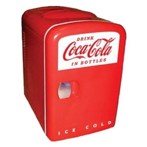 This Koolatron Cocoa-Cola Personal 6-Can Mini Fridge is a collector's favorite. It is great for offices, dorms, kitchen, living room, anywhere as you may like to carry. Koolatron coca cola fridge cools up to 40-degrees below ambient temperature. Koolatron coca cola fridge has 4-liter capacity, holds 6 (12-ounce) cans. Self-locking recessed door handle.