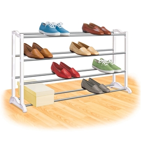 4-Tier Shoe Rack - Holds up to 20 Pair of Shoes, LSR1954578 :  This 4-Shelf Closet Shoe Rack with Natural Wood Frame and Chrome Wire Shelves has a vertical back lip that keep items from falling in back of the unit. Beautiful natural wood frame give the closet shelves that finishing touch to an attractive piece of furniture storage. Great item for shoes, sweaters, purses and accessories. Use on top shelf of closet or underneath hanging cloths. Closet shelves will complement any room in the house or office. Easy to assemble