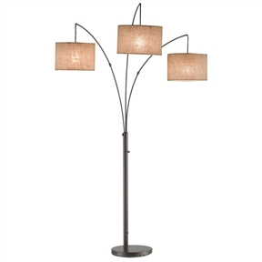 Modern 3-Light Arch Floor Lamp in Antique Bronze with Drum Style Shades, ATLB151483 :  This Modern 3-Light Arch Floor Lamp in Antique Bronze with Drum Style Shades will make the perfect arc lamp for your home. The three fabric shades of this oversized metal lamp suspend from curved metal poles. The poles can be adjusted from side to side for your desired light location. The four-way rotary switch on the pole operates as follows: right only, left and center only, all on, all off. Each shade takes one 100-watt incandescent or 13-watt CFL bulb. This modern arc lamp has a beautiful antique bronze finish. Lamp dimensions: 74-inch height (Shade clearances: 54.5-inch, 57-inch and 61.5-inch from floor), 44-inch width, 43-inch depth. 12.5-inch diameter base.
