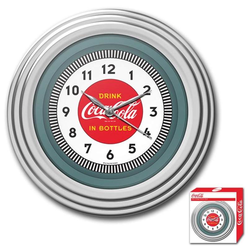 30s Style Chrome Coca-Cola Wall Clock, 1930SCCWC1753 :  Bring the unique style of the world's most recognizable brand home with this 30s Style Chrome Coca-Cola Wall Clock. This retro clock features a 1930's style Coca-Cola design and the high gloss chrome molded case adds a brilliant shine. Brushed metal hands; Licensed Coke product; Wall hanging mount; Requires one (1) AA battery (not included).
