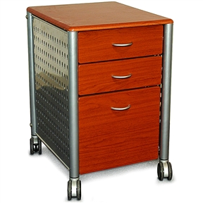 This Modern 3-Drawer Filing Cabinet with Casters in Cherry Wood Finish features two accessory drawers and one larger filing drawer. This filing cabinet features a durable construction and wheeled casters for mobility. Tradition meets industry with this contemporary wood filing cabinet. The warm cherry finish is juxtaposed with the cool perforated steel sides for a stylish result that will add interest to any office. This design has casters for increased mobility.