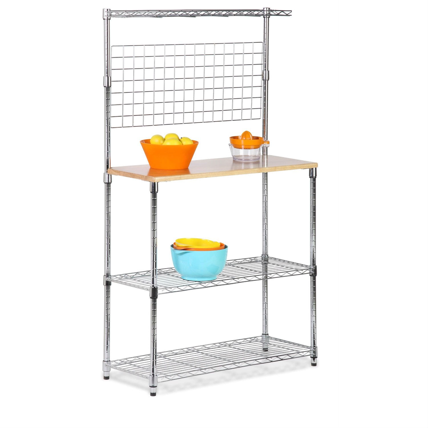 This Metal Backers Rack with Storage Shelves and Solid Wood Cutting Board is a convenient way to add additional space and organization to your kitchen. Features: Wood cutting board for food preparation, bonus top rail for spices, durable metal construction, 2 full-sized adjustable shelves (200 pound capacity evenly spaced), and an open wire design for easy cleaning. requires a screwdriver to mount the cutting board to the metal brackets. The unit is 35.75 inches wide, 14.25 inches deep and 61.25 inches tall. The Urban Baker's Rack is an easy way to gain all the additional kitchen storage you need. This steel rack is sturdy enough to hold everything from appliances to pots and pans. Adjustable wire shelf Pot rack along the back. Maple counter top. Leg levelers. Made of steel.