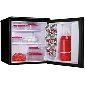 This Danby 1.8 cu ft Mini-Fridge / All Refrigerator in Black is energy efficient refrigeration in a convenient, compact space. This model makes a great addition to the student dorm room. It includes our second generation CanStor beverage dispenser, tall bottle storage and a scratch resistant work top to store accessories.
